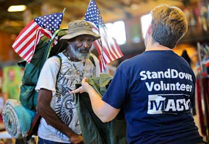 homeless veteran at stand down event