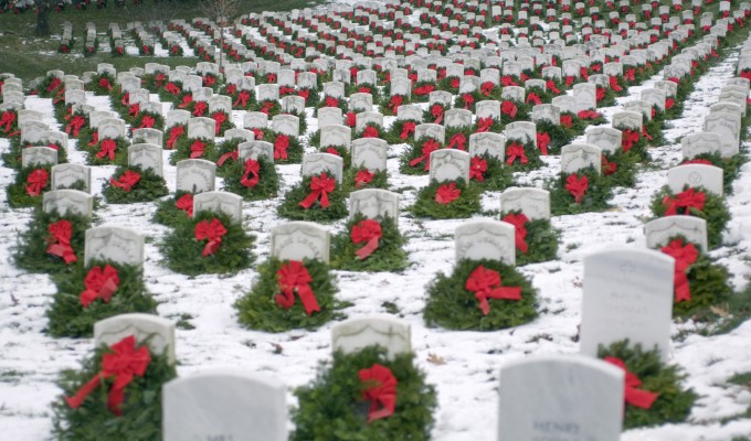 holiday wreaths at Arlington National Cemetery