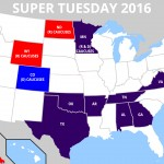 Map of super Tuesday primaries and caucuses