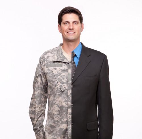 veteran in uniform and business suit